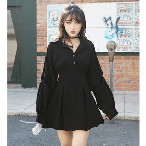 Retro Single Breasted Shirt Mini Dress