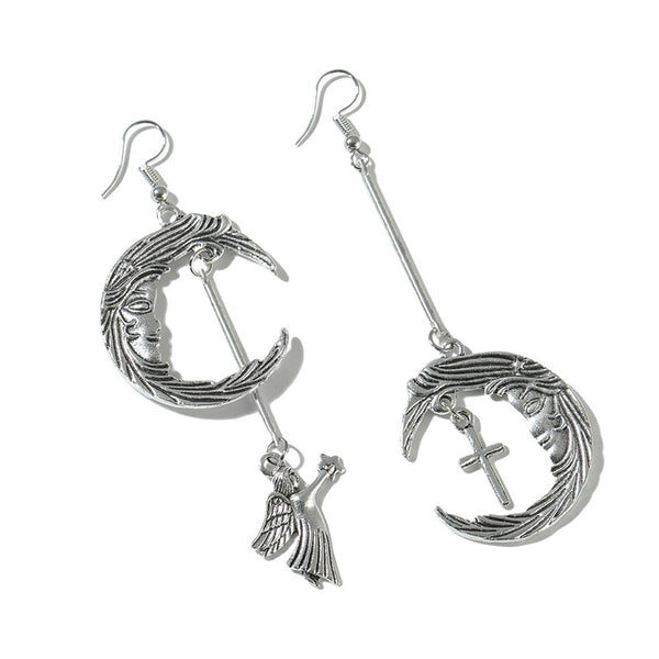 Moon Cupid Angel Cross Combination Earrings