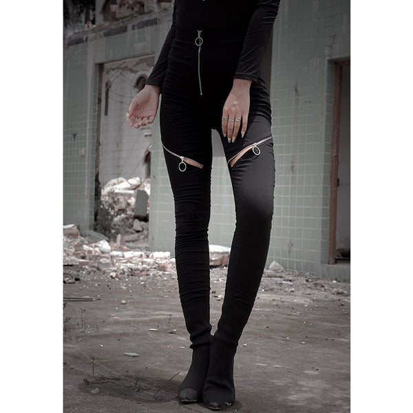 Zip Cutout Slim-Fit Pants