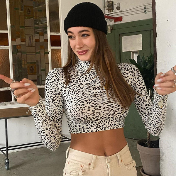 Leopard Print Slim Crop Top