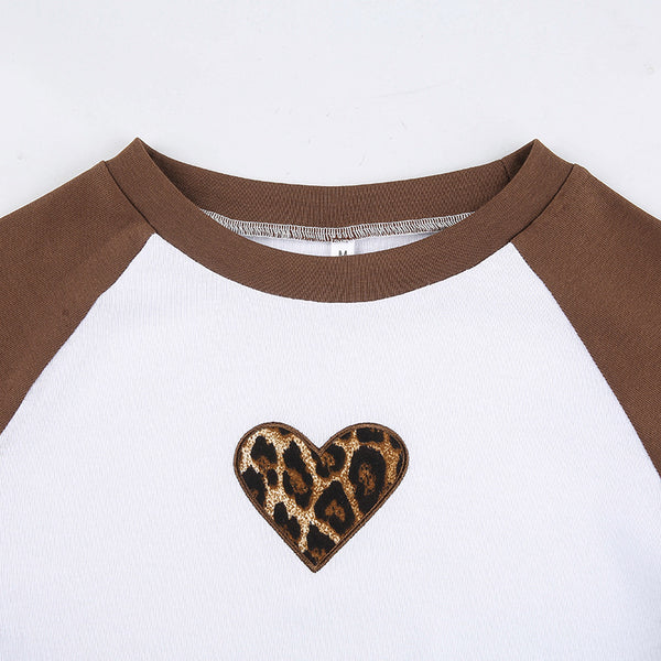 Leopard Print Heart Color Block Crop Top