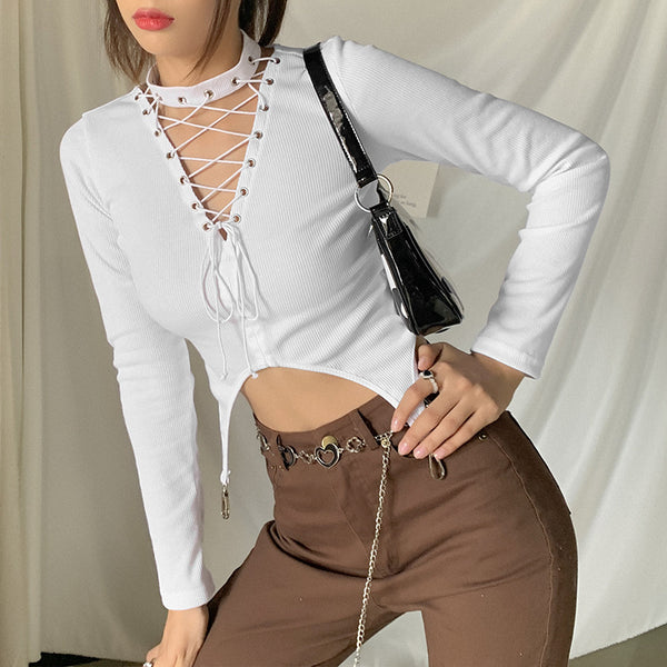 Cutouts Lace Up Slim Crop Top
