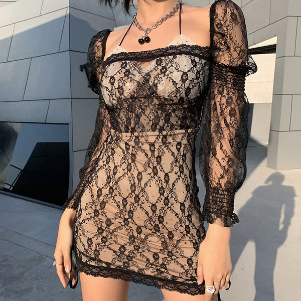 Sexy Lace Cutout Mini Dress