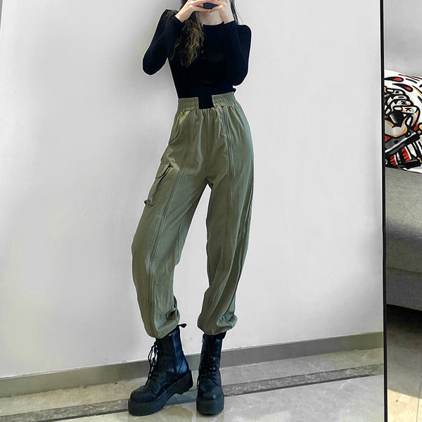 Color Block Loose Casual Pants