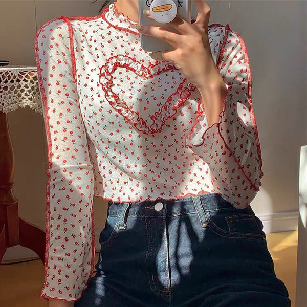 Floral Print Heart-Shaped Crop Top