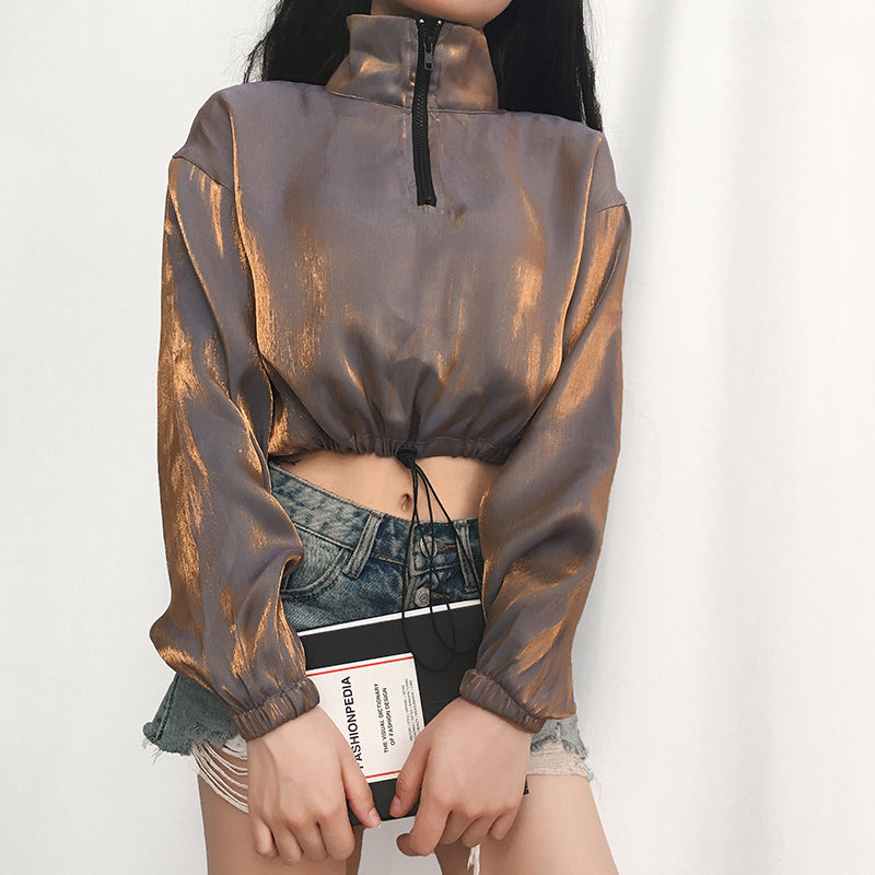 Drawstring Zipper Lapel Crop Top