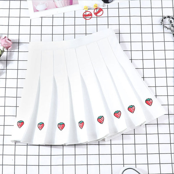 Strawberry Embroidered Pleated Skirt