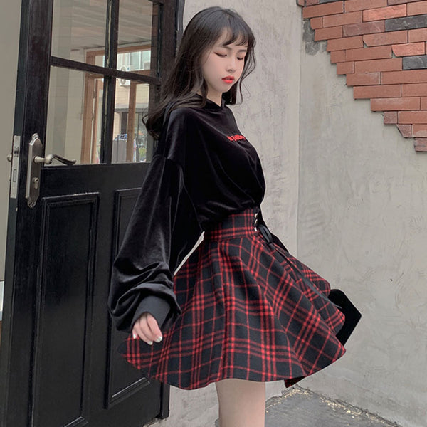 High Waist Lace-Up Plaid Skirt
