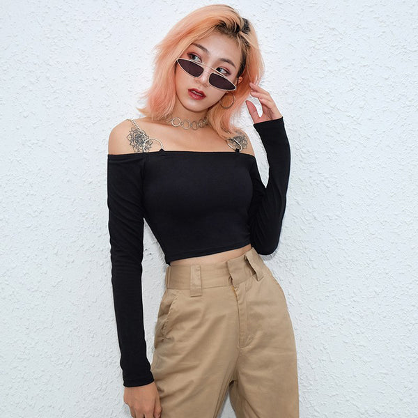 Metal Chain Off-Shoulder Crop Top