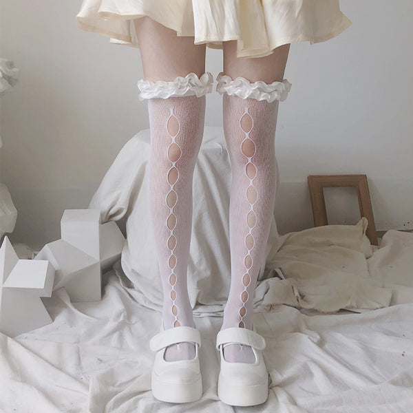 Lace pleated Cutouts Middle Tube Socks