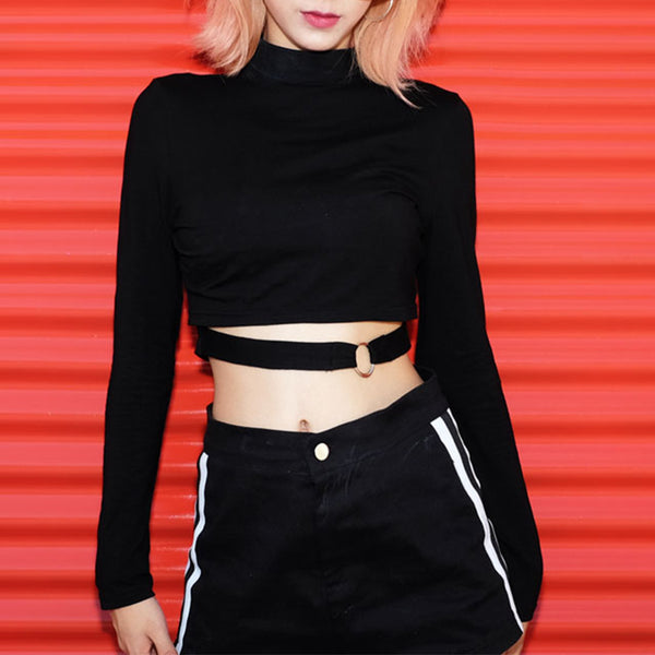 Iron Ring Hollow Design Crop Top
