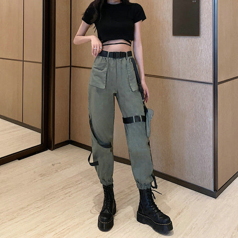 Solid Color Hip-hop Overalls Gothic Pants