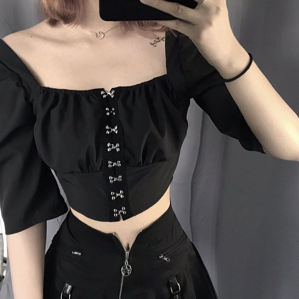 Fashion Square Collar Crop Tops