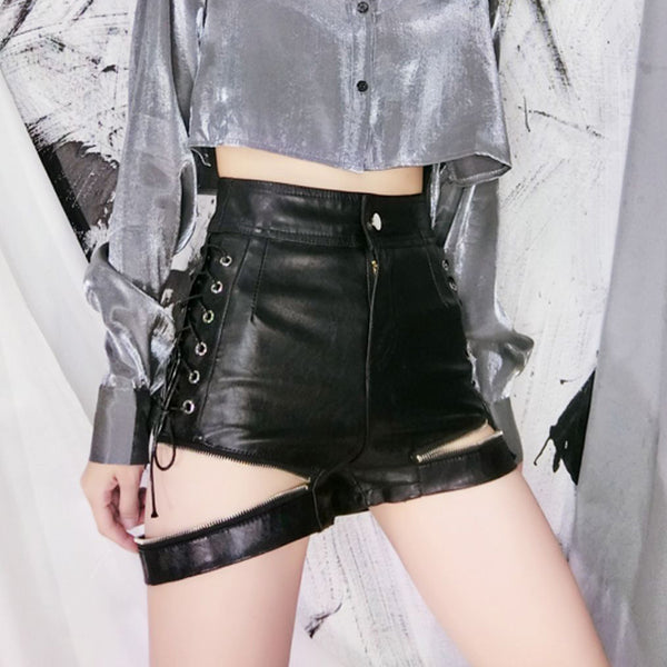 PU Zipper Lace-Up Shorts