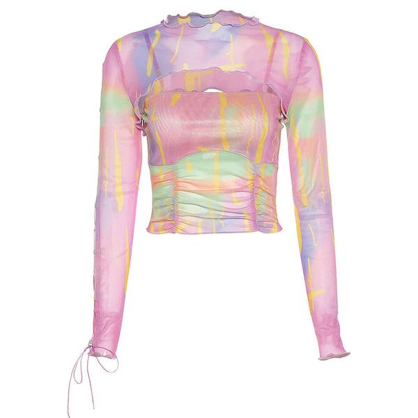 Tie-dye hollow mesh T-shirt
