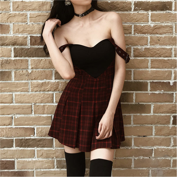 Heart Plaid Splice Mini Dress