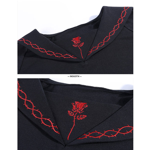 Rose Embroidered Short Hoodies