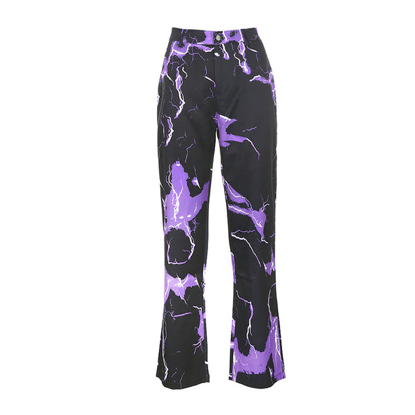 Lightning Print Loose High Waist Pants
