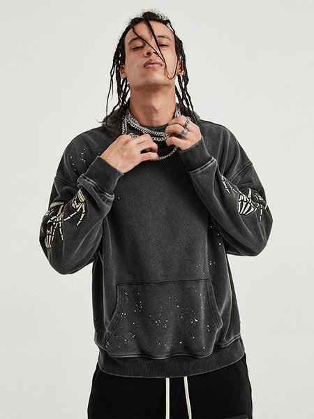 Embroidered Skull and Ink Turtleneck Hoodie