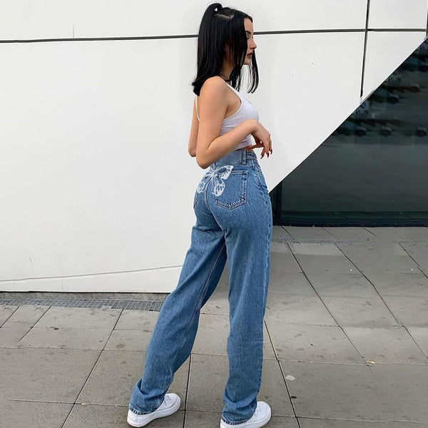 Butterfly-Back Straight-leg Jeans