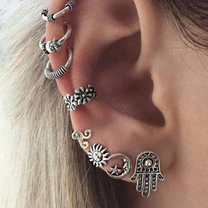 8pc Retro Sun Moon Palm Earring Set