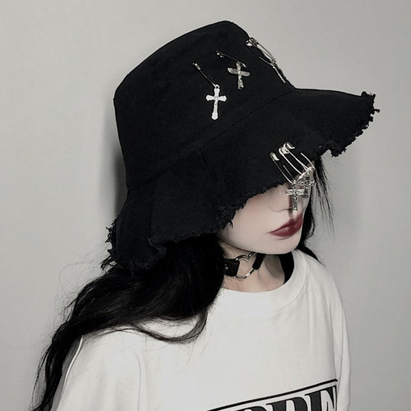 Harajuku Style Dark Black Fisherman's Hat