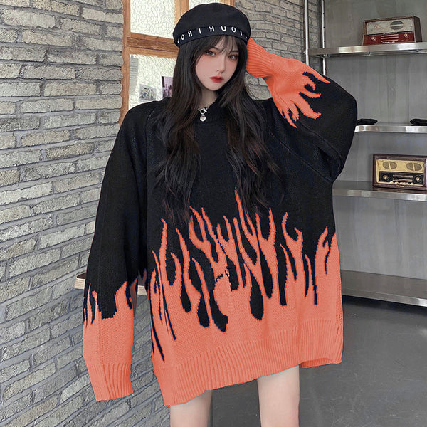 Flame Color Block Knitted Sweater