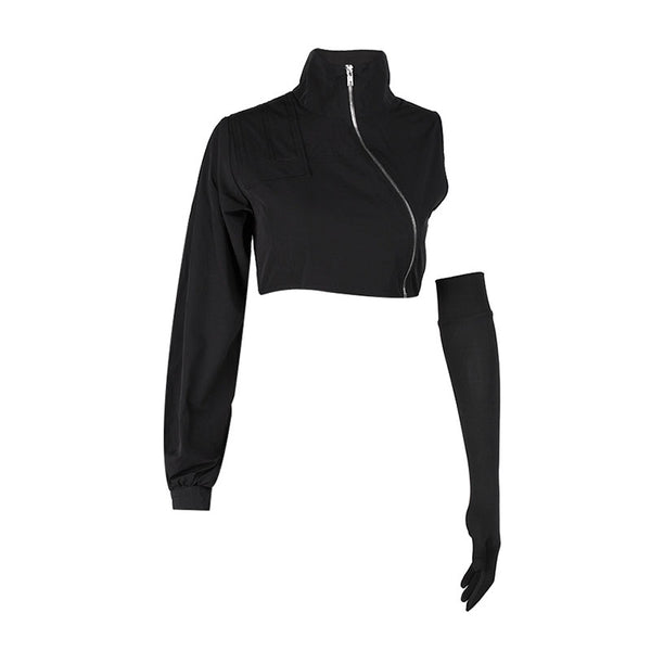 Asymmetric Zipper High Neck Crop Top