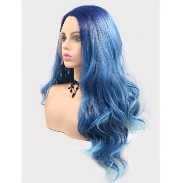 Blue Gradient Body Wave Synthetic Lace Wigs