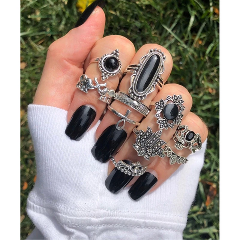 11pc Gothic Stackable Ring Set