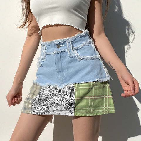 Splice Tassel Pocket Denim Skirt