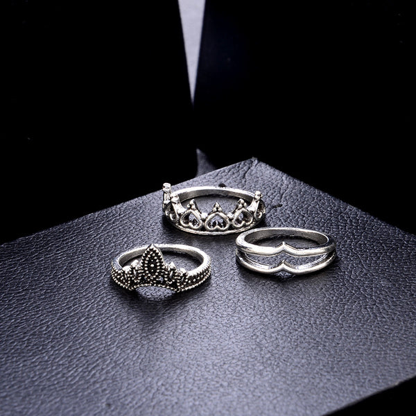 12pc Gothic Cutouts Carved Ring Set
