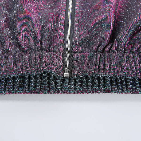 Shiny Fabric Zipper Folds Crop Jacket