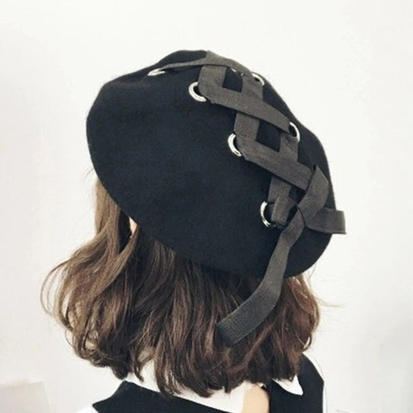 Lace-Up Bow Knot Beret Hat