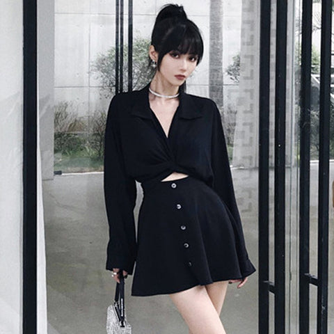 Design Style Cutouts Shirt Mini Dress