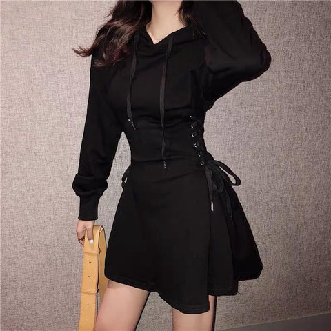 High Waist Lace-Up Hoodie Dress
