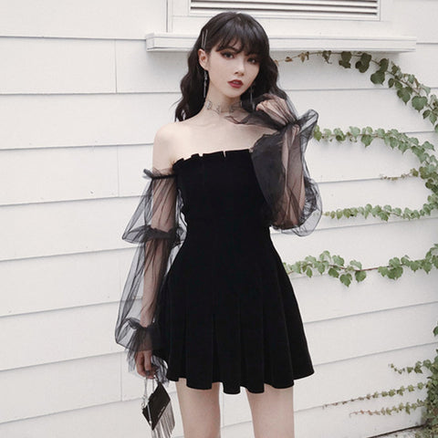 Off-Shoulder Sheer Mesh Mini Dress