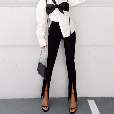 High-Waist Split Slim Pants