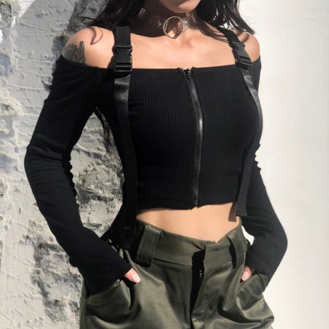 Buckle Off Shoulder Zipper Crop Top