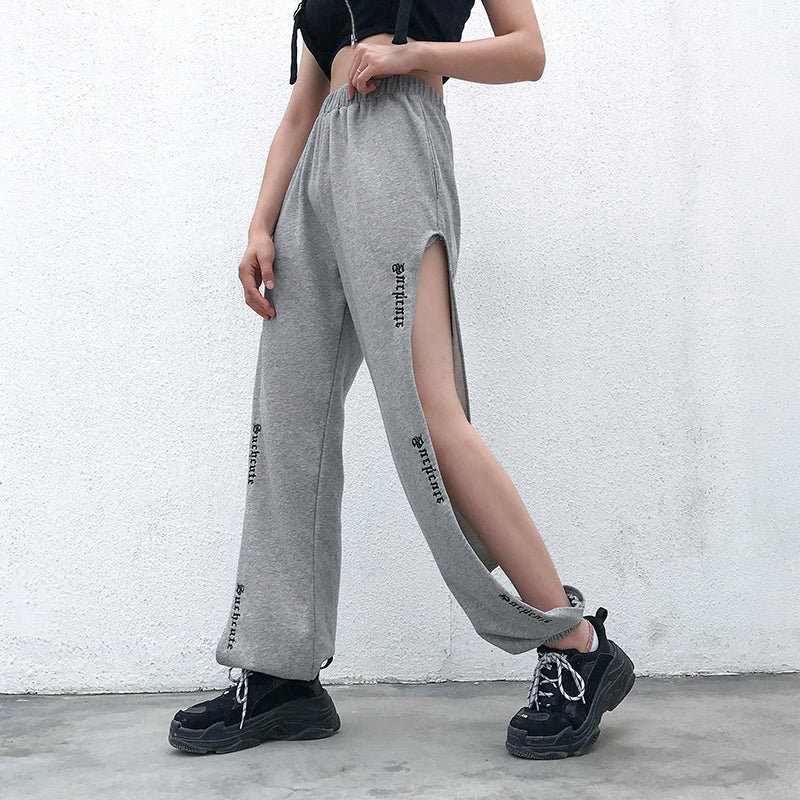 Side Cutout Letter Casual Pants