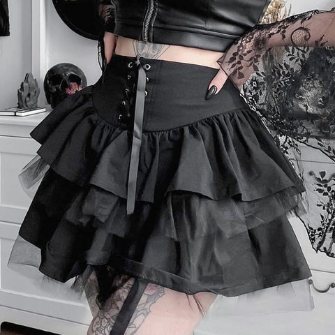 Mesh Splice Lace-Up Skirt