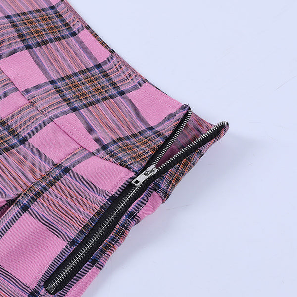 Plaid Folds High Waist Skirt