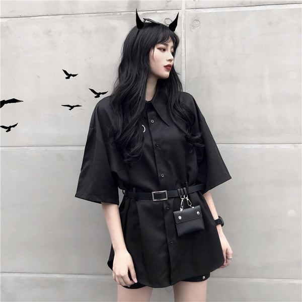 Retro Gothic Loose Short Sleeve Shirt Flash