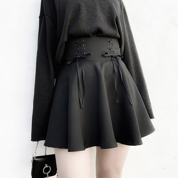 High Waist Lace-Up Pleated Woolen Skirt