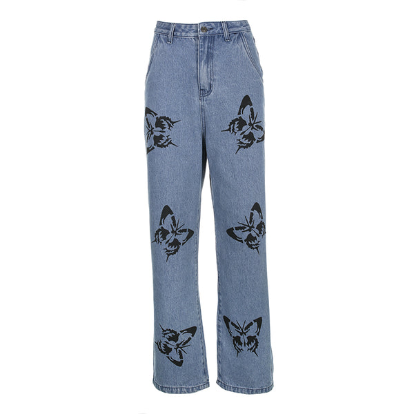 Black Butterfly Print Casual Jeans