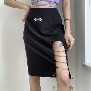 Design Style Chain Cutout Skirt