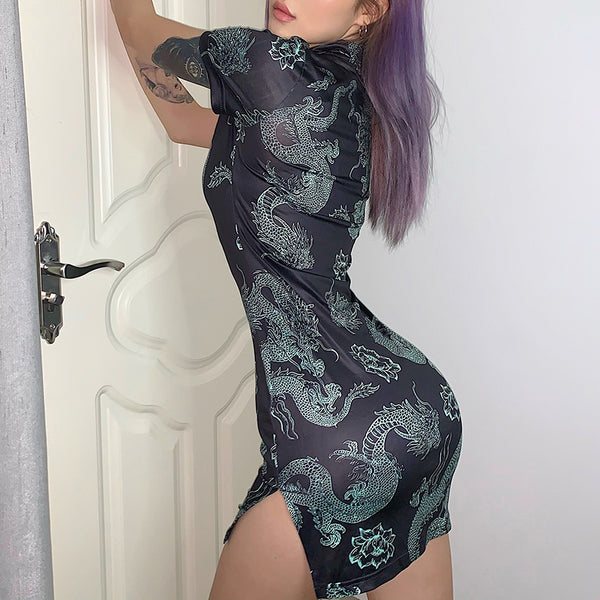 Dragon Print Cheongsam Mini Dress
