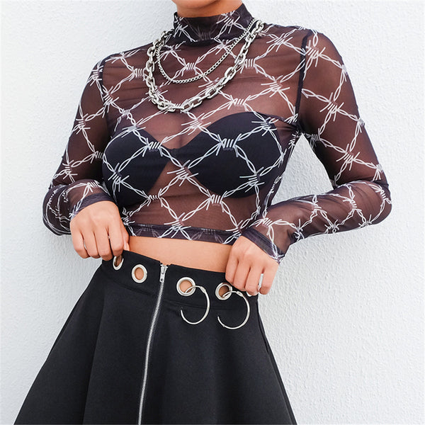 Printed Mesh Cutout Crop Top