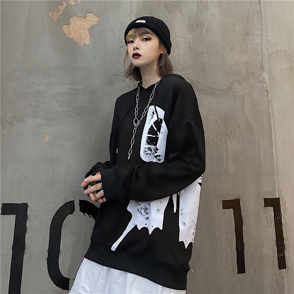 Gothic Butterfly Print Hoodie