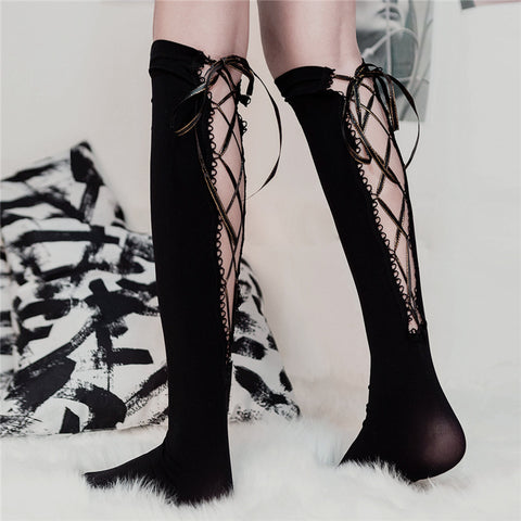 Cutouts Lace-Up Medium Tube Socks